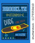 brooklyn skateboarding t shirt... | Shutterstock .eps vector #1175553610