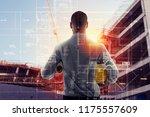 businessman architect analyzes... | Shutterstock . vector #1175557609
