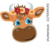 calf head with flowers on white ... | Shutterstock .eps vector #1175559193