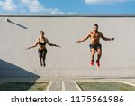 young muscular couple skipping...   Shutterstock . vector #1175561986