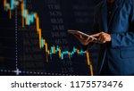 businessman finger touching...   Shutterstock . vector #1175573476