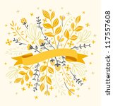 flowers and leaves with ribbon... | Shutterstock .eps vector #117557608