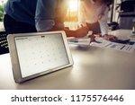digital tablet with deadline... | Shutterstock . vector #1175576446
