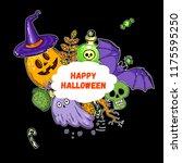 halloween hand drawn collection.... | Shutterstock .eps vector #1175595250