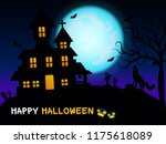 ghost house. in the blue moon... | Shutterstock .eps vector #1175618089