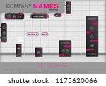 set signage.direction pole ... | Shutterstock .eps vector #1175620066