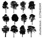 Black Tree Silhouettes White Background - Fine Art prints