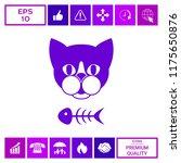 cat with fish skeleton   Shutterstock .eps vector #1175650876