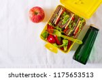 healthy school lunch box with... | Shutterstock . vector #1175653513