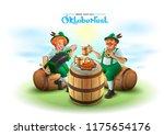 oktoberfest beer festival. two...   Shutterstock .eps vector #1175654176
