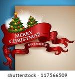 merry christmas ribbon banner... | Shutterstock .eps vector #117566509