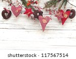 heart and  red stars on wooden... | Shutterstock . vector #117567514