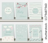 set of baby shower invitation... | Shutterstock .eps vector #1175687560