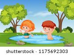 boy and girl playing in water... | Shutterstock .eps vector #1175692303