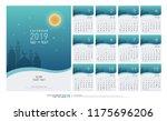 calendar 2019 hijri 1440 to... | Shutterstock .eps vector #1175696206