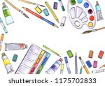 watercolor artistic workspace ... | Shutterstock . vector #1175702833