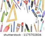 watercolor artistic workspace ...   Shutterstock . vector #1175702836