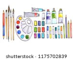 watercolor artistic workspace ...   Shutterstock . vector #1175702839