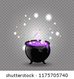 black witch pot cauldron with... | Shutterstock .eps vector #1175705740