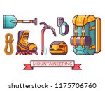 climbing and mountain hiking... | Shutterstock .eps vector #1175706760