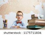 a very surprised schoolboy... | Shutterstock . vector #1175711836