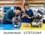 young students of robotics... | Shutterstock . vector #1175731369