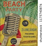 beach party vintage poster. | Shutterstock . vector #1175740876