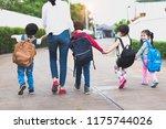back to school students mother...   Shutterstock . vector #1175744026