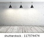 poster in room with ceiling lamp | Shutterstock . vector #117574474