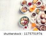 breakfast table. healthy...   Shutterstock . vector #1175751976