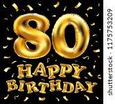 raster copy happy birthday 80th ... | Shutterstock . vector #1175753209