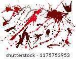 hand drawn set of red ink spots ...   Shutterstock .eps vector #1175753953