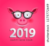 cute greeting card for 2019 new ...   Shutterstock .eps vector #1175772649
