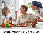 healthy food at home. happy... | Shutterstock . vector #1175782636