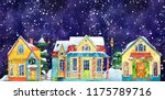 watercolor night winter street...   Shutterstock . vector #1175789716