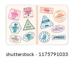 realistic passport pages with... | Shutterstock .eps vector #1175791033