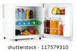 mini fridge full of bottles of... | Shutterstock . vector #117579310