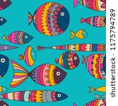 seamless texture with funny fish   Shutterstock .eps vector #1175794789