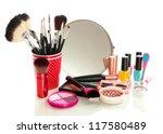 cosmetics near mirror isolated... | Shutterstock . vector #117580489