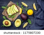 sandwiches with rye bread ... | Shutterstock . vector #1175807230