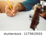 songwriter thinking and writing ... | Shutterstock . vector #1175815033