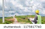 engineer worker at wind turbine ... | Shutterstock . vector #1175817760