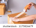 hand holding closed up tapes to ... | Shutterstock . vector #1175826679