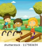 illustration of kids playing in ... | Shutterstock .eps vector #117583654