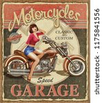 vintage motorcycle poster. | Shutterstock . vector #1175841556