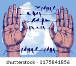 human hands and birds on wires. ... | Shutterstock . vector #1175841856