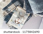 cozy warm sweaters  plaid and... | Shutterstock . vector #1175842690