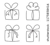 gift box continuous line vector ... | Shutterstock .eps vector #1175858416
