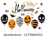 happy halloween 3d balloons...   Shutterstock .eps vector #1175866510
