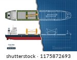 blueprint of cargo ship on... | Shutterstock .eps vector #1175872693